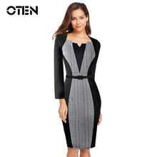 OTEN Women Elegant Optical Illusion Patchwork Contrast Slim Work Career Business Party Bodycon Dress Office lady robe crayon(China)