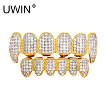 UWIN New Custom Fit 24k Gold Color All Iced Out Luxury AAA Zircon Rhinestone Top & Bottom Gold Grill set Vampire teeth(China)