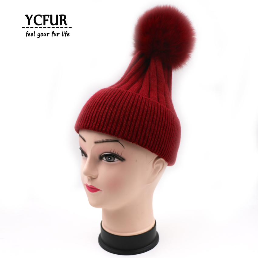 YCFUR 2017 Winter Cashmere hat women Real Fox Fur Pom Pom Hat with Big Fox fur pompom Beanies caps Fox fur bobble hat YH199-2Одежда и ак�е��уары<br><br><br>Aliexpress