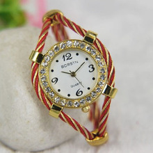 Fashion Ladies Quartz Watch Round Face Crystal Watch Small Band Bracelet Watch Bangle Watch100pcs/lot,8 Colors Are Available(China)