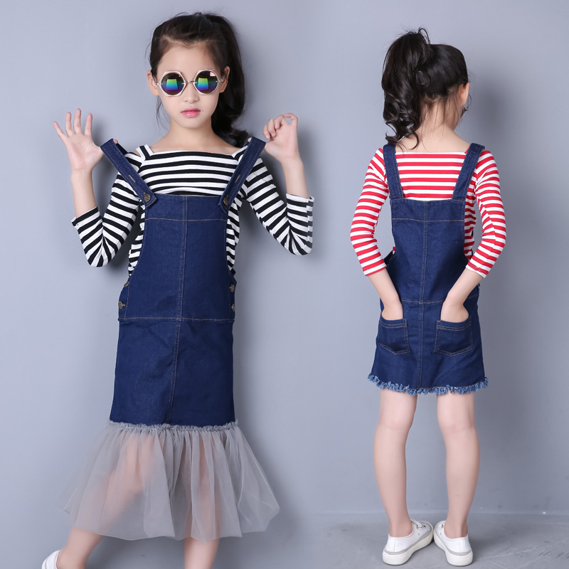 Childrens Clothing Sets Girls Striped Shirt + Denim Overall Dress Patchwork Mesh Bottoming 2 Pcs Kids Clothes For Teenage Girl<br><br>Aliexpress