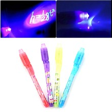 Kids Child Magic 2 in 1 UV Black Light Combo Creative Invisible Ink Pen 13cm Popular Drawing Tools Random Color(China)