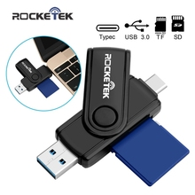 Rocketek USB 3.0 Memory Type-C Card Reader adapter and OTG phone 2 Slots same time read 2 Type C Card Reader for SD, micro SD/TF(China)