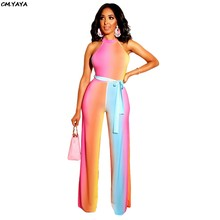 efac194f3248 2019 women summer rainbow colorful stripes sexy sleeveless with sashes  straight long jumpsuit beach casual romper playsuit S3511