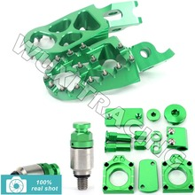 GREEN New CNC MX Footpegs Bling Kits M5X0.8 Fork Air Relief Bleeder Valves fit for Kawasaki KXF250 KX250F 08 09 10