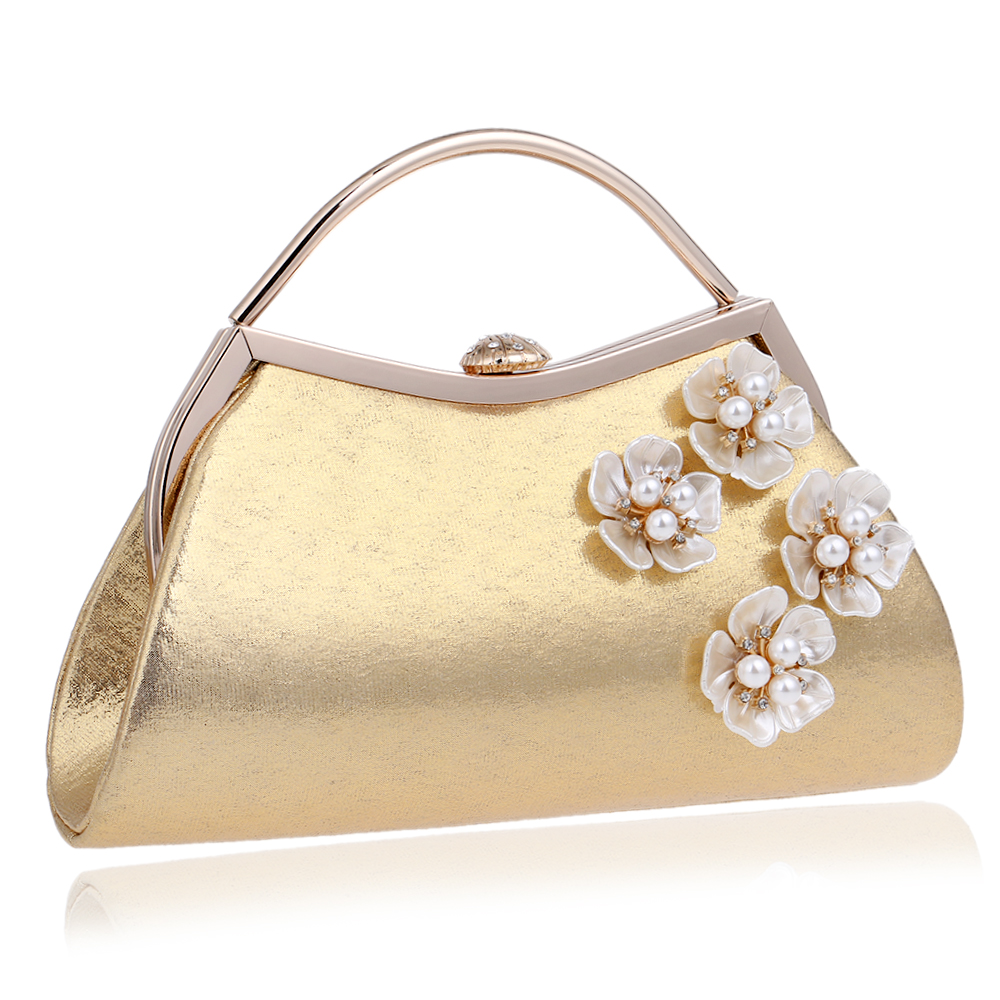 New Arrival Shell Flower Accessory Women Evening Bags Silver/Gold Diamonds Handle Chain Shoulder Messenger Bags<br><br>Aliexpress