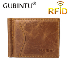 Rfid GUBINTU 100% Genuine Leather Money Clip Famous Brand Wallet leather Id Credit Card Slots Clamp for Money Fashion style new