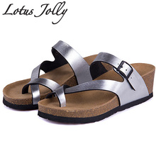 Lotus Jolly Women Sandals Wedges Cork High Heels Shoes lift Gladiator Beach Shoes Summer Slippers Zapatos Mujer Sandalias(China)