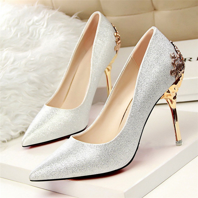 Sexy High Heels Shoes Woman Pumps Red Gold Silver High Heels Shoes Woman Ladies Wedding Party Shoes 2018 4