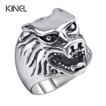 Vintage Jewelry Wholesale 10Pcs/Lot Punk Ring Men Jewelry Silver Color Animal Rings Retro Jewelry Big Size Anel(China)