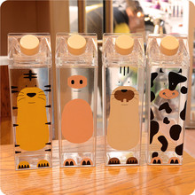500ml Cute cartoon BPA FREE Creative HIP FLASK Sport outdoor Animal Cow Cat Plastic My Water Bottles doggie Milk kettle(China)