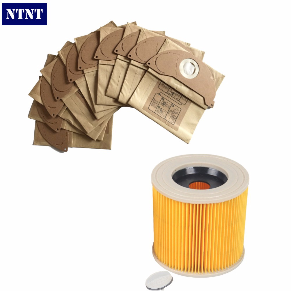 NTNT New FILTER &amp; BAGS For KARCHER WD2.200 WD3.500 Wet &amp; Dry Vacuum Cleaner hoover 141<br>