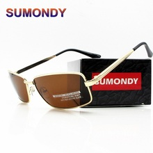 SUMONDY Name Brand Design Polarized Sunglasses & Case Men Women High-end Square Alloy Frame Open Air Driving Sunglass SA07