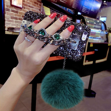 LOVECOM Hot Luxury 3D Bling Rhinestone Glitter Powder Two Chain Fox Fur Ball Hard Phone Cases For iPhone 6 6S Plus 7 7 Plus(China)