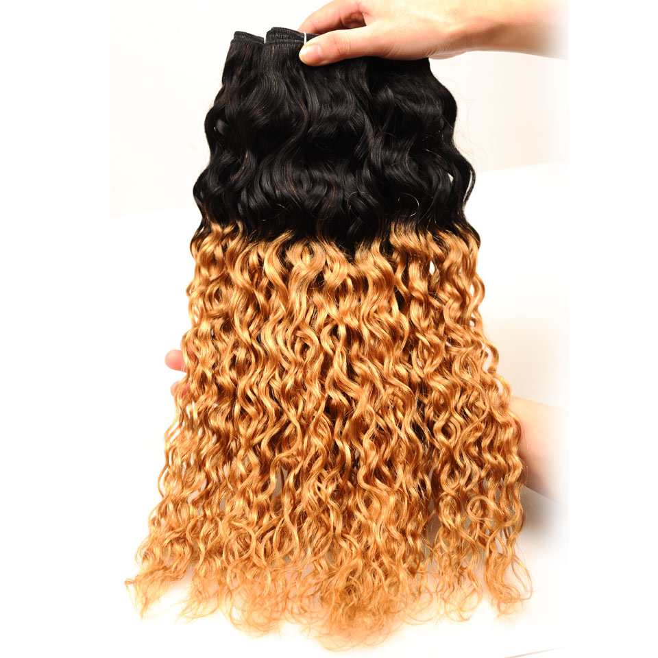 Pinshair Ombre Brazilian Water Wave Hair 1B 27 3 Bundles With Closure Ombre Wet Wavy Human Hair Extension With Closure Non-remy (64)