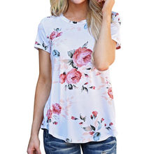 Summer Women Floral Printed T-Shirt Simple Plain Elegant Crewneck Short Sleeve Tee Shirt Fashion Summer Tops