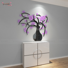 Creative 3D three-dimensional crystal vase purple Flower wall sticker dining room entrance hallway background wall decoration
