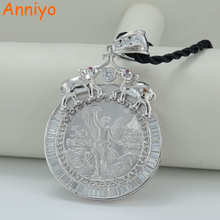 Anniyo Mexican Coin Jewelry Zirconia Stones Silver Color Coins Pendant and Black Rope 50cm #034604