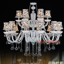modern crystal chandelier with fabric lampshade european style chandeliers Victorian chandelier glass arms lighting foyer room