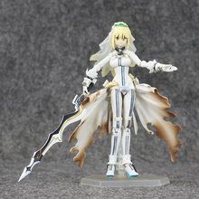 Free Shipping 15cm Fate Stay Night Saber Lily Nero wedding dress figma PVC Action Figure hot toy doll for Collection