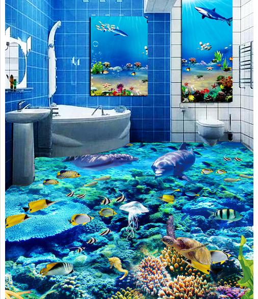 customized 3d photo wallpaper Dazzle beautiful underwater world 3D floor 3d mural PVC wallpaper self-adhesion floor wallpaer<br>