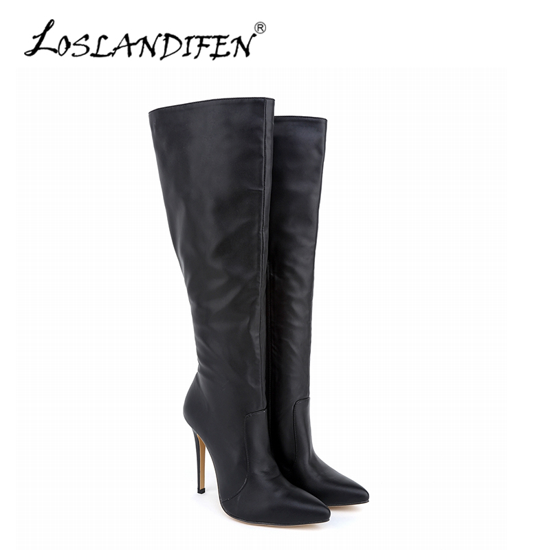 Sexy Women Knee-high Boots PU Leather Boots Pointed Toe High Heels Female Autumn Winter Stretch Boots Womens Shoes 769-3MA<br>