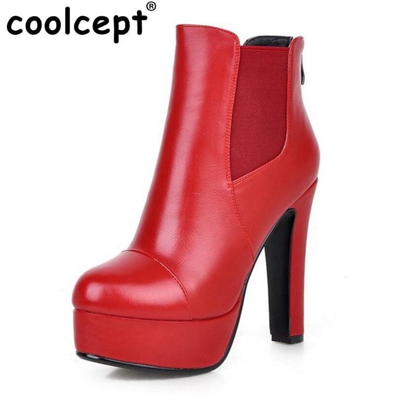 Coolcept Women High Heels Boots Back Zipper Platform Warm Winter Fur Wedding Ankle Stretchable Shoes Women Footwears Size 33-43<br>