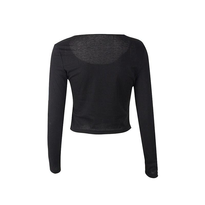 Crop Top Women Long Sleeve Button O-neck Spring Summer T Shirt Women Sexy Camiseta Mujer Women Tshirt Tee Shirt Femme 2019 Tops227