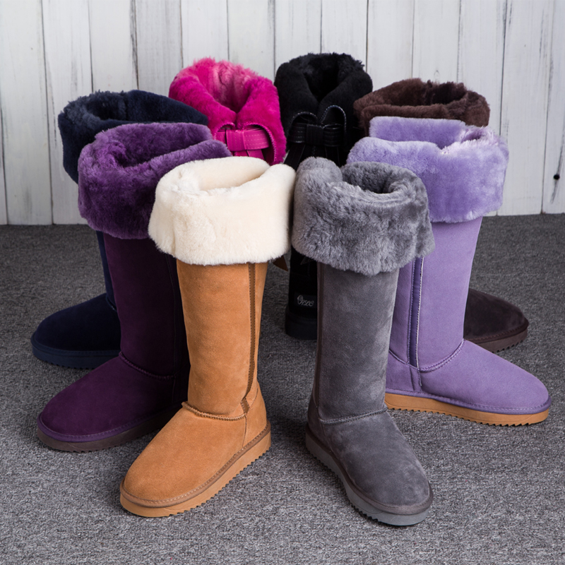GQPy/Luxury New Winter Natural Sheepskin Boots Knee-high Snow Boots Genuine Leather Tube Bow Warm Wool Sheep Fur Long Boots<br><br>Aliexpress