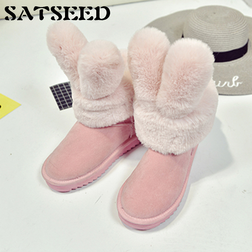 2017 New Black Fur Boots For Woman Winter Snow Boots Lady Comfort Shoes Rabbit Ears Flock Non-slip Ankle Boots Shoes Fashion<br>