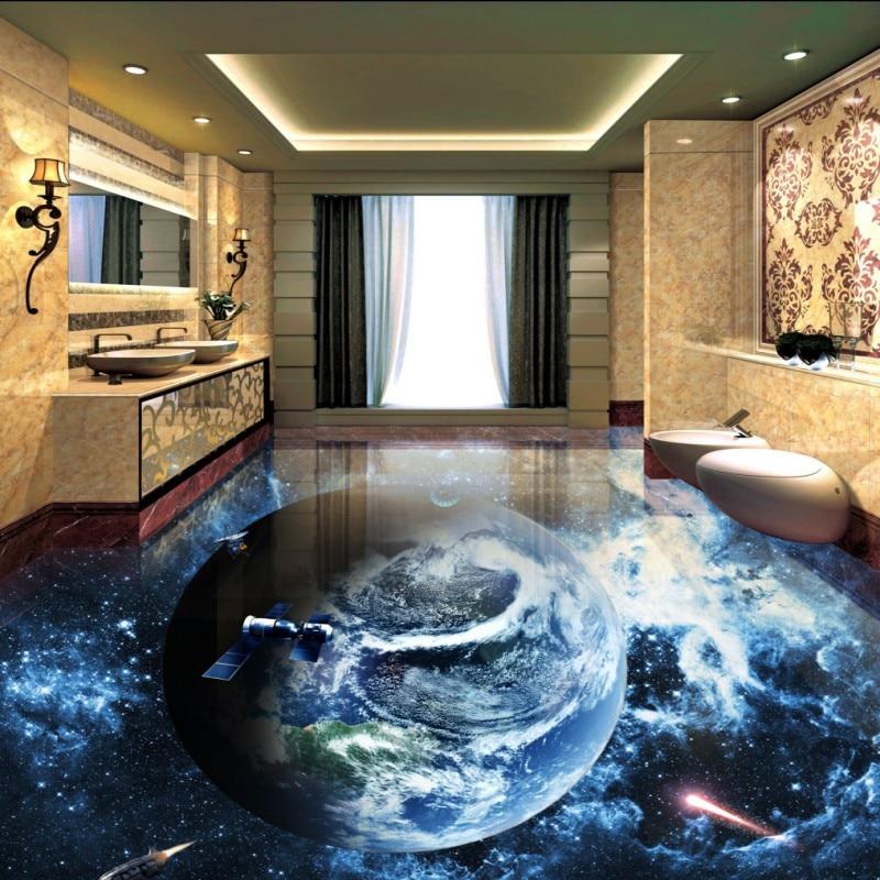 Free Shipping Cosmic Galactic Globe 3D flooring sticker bedroom study decoration waterproof self-adhesive floor wallpaper mural<br>