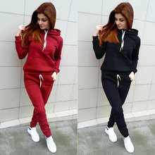 Women's Tracksuits Winter Thick Women Set Thicker Hooded Suit Women Two Piece Set Track Suit Hoodie 2 Piece Set Women Sportswear