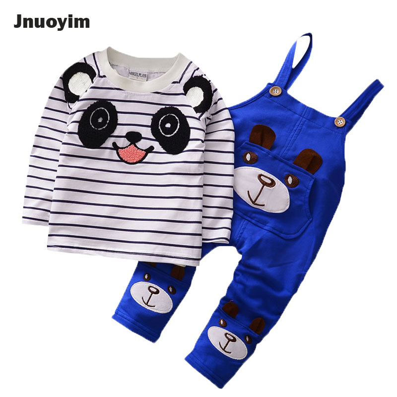 2017 Autumn New Boys Kids Clothing Set Cartoon Stripe Shirt &amp; Suspenders Set Overalls Kids Clothes Baby Toddlers Top Tees Pants<br>