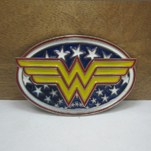 Bullzine wholesale wonder woman super hero belt buckle with silver finish FP-03615 for 4cm wideth snap on belt free shipping(China)