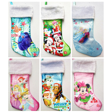 "42cm 16.5"" plush stain minnie mouse Elsa Anna Finding Dory princess Cartoon Christmas stocking sock children gift bag holder(China)"