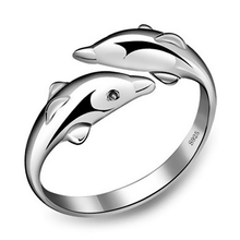 Romacci Cute Double Dolphins Opening Finger Rings Silver Color Adjustable Rings for Women Fashion Vintage Ring Jewelry(China)