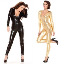 Buy Black/Gold Leather Lingerie Women Sexy Body Suits PVC Erotic Leotard Costumes Latex Bodysuit Catsuit 2017 Faux Leather dresses
