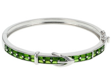 2.86ctw Baguette Russian Chrome Diopside Sterling Silver Buckle Hinged Bangle Bracelet