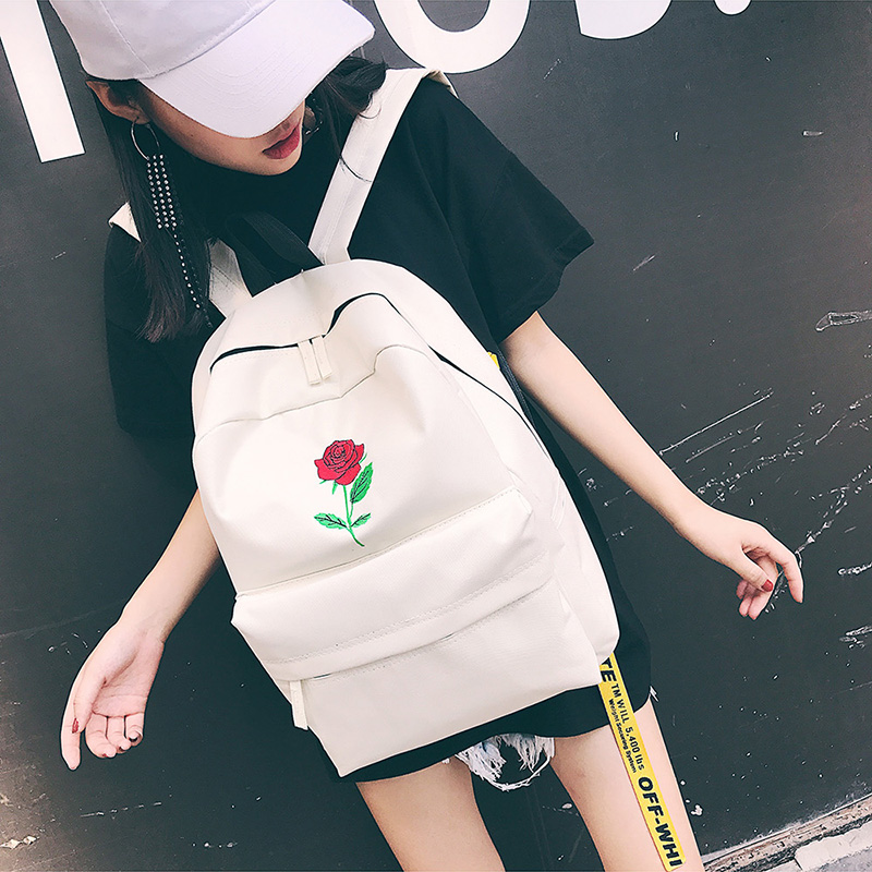 Men Canvas Backpack Cute Fashion Women Rose Embroidery Backpacks for Teenagers Women's Travel Bags Mochilas Rucksack School Bags (15)