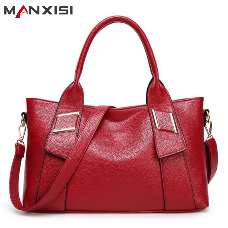 MANXISI Brand Women Handbags Casual Tote Bag Red Lychee Pattern Leather Shoulder bags Soft Zipper Bags Handbags Women Famous<br><br>Aliexpress