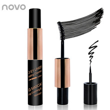 2 In 1 Waterproof Colossal Mascara Volume Express False Eyelashes + Black Liquid Eye Liner Pencil Professional Beauty Makeup set