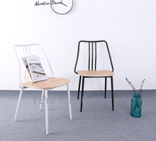 modern design Metal and Wood Dining Side Chair , Cafe Loft industrial Chair, popular fashion metal waiting loft cafe chair-1PC(China)