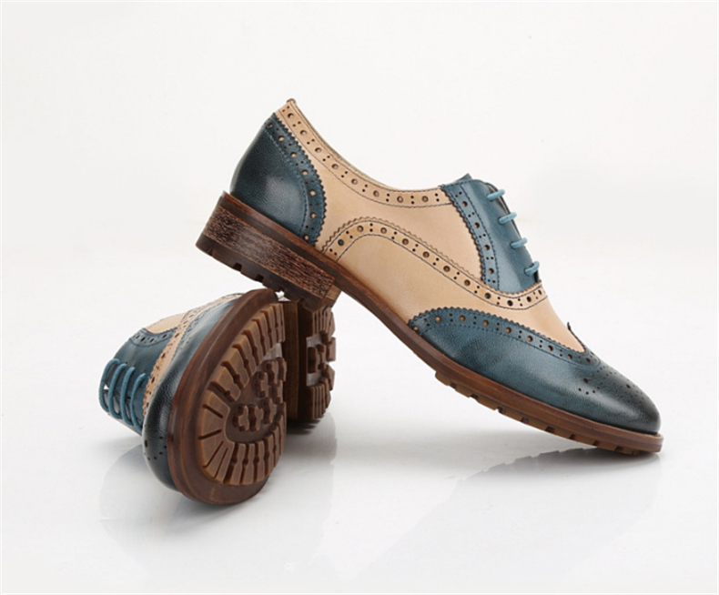 Fine 100% Genuine Cow Leather Brogue Yinzo Mens Wedding Flats Shoes Vintage Handmade Sneaker Oxford Shoes For Men Red Green Blue Quality First Men's Shoes