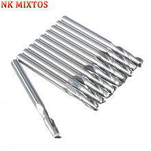 Hot Sale 10pcs/lot 1/8 High Quality Cnc Bits Double Flute Spiral Router Carbide End Mill Cutter Tools 3.175 x 12mm (1Lx3.17)(China)
