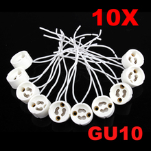 10Pcs GU10 Socket Holder Ceramic Bulb Halogen Lamp Wire Connector Holder Base
