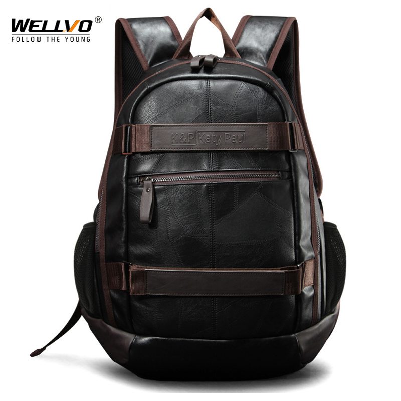 Vintage Men Backpack Leather Large Travel Laptop Bag For Teenage School Daypacks male Patchwork Schoolbag Mochila Black XA129WC<br>