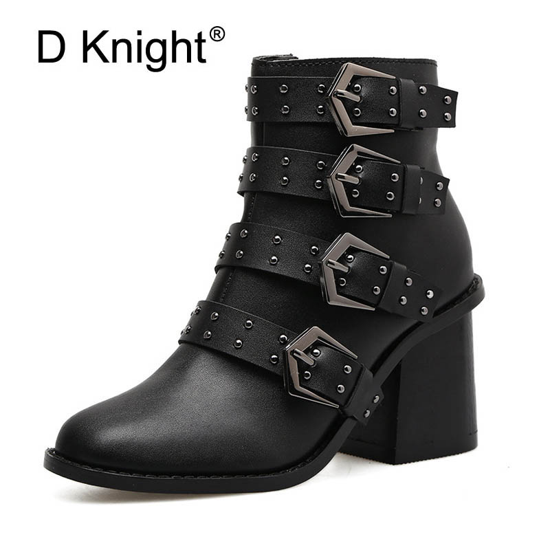 Women Black Buckle Rivet Boots Fashion Autumn Shoes Lady Girl Sping High Quality Ankle Riding Boots Female Platform Zipper Shoes<br>