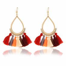 E0266 Bohemian Style Red Tassel Earrings For Women Vintage Gold Color Long Drop Earrings Ethnic Fringe Statement Earrings Gifts(China)