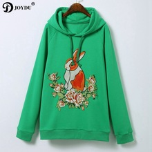 JOYDU 2018 New Runway Design Cotton Hoodies Women Sweatshirt Chic Hooded Rabbit Flower Embroidery harajuku Green Hoody Pullover(China)