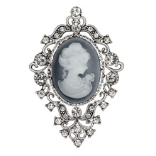 Best Cheap Crown Brooch Head Portrait Large Brooch Crystal Shield Shape Brooch Jewelry Vintage Silver Party(China)